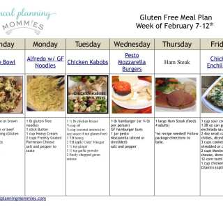 Gluten Free Meal Plan and Grocery List Feb 7th