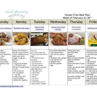 Gluten Free Meal Plan February 21-26th