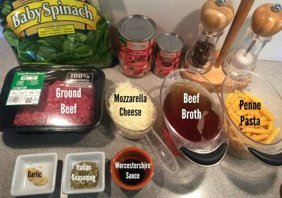 Ingredients for Hearty Penne Beef