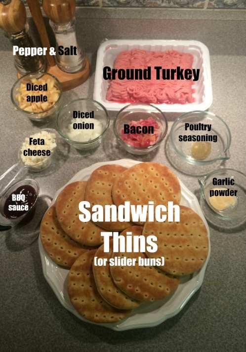 Ingredients for Apple Bacon Feta Turkey Sliders