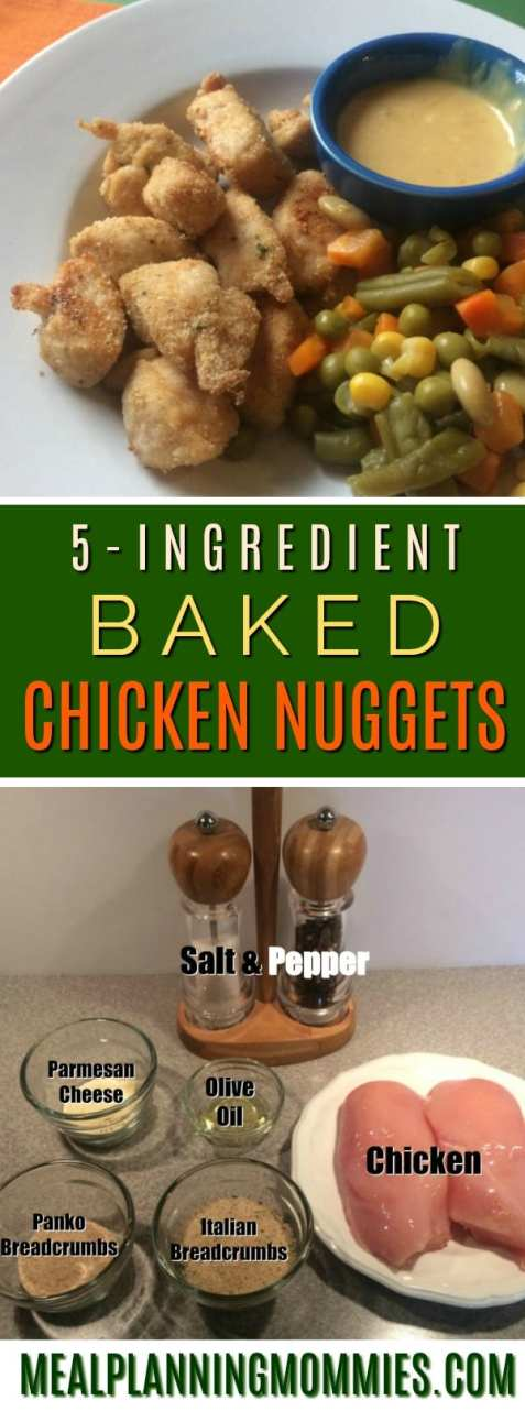 Just 5 simple ingredients to make these delicious baked chicken nuggets.
