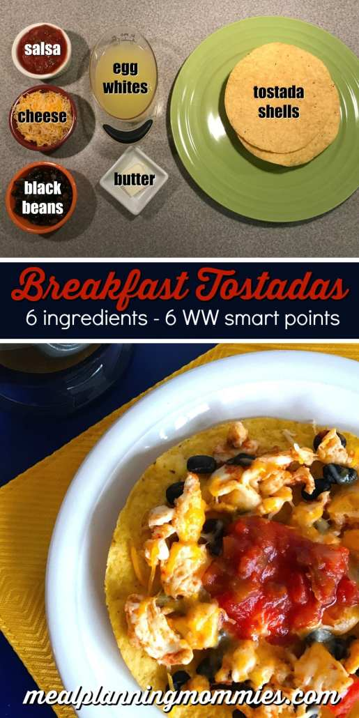 Weight Watcher friendly breakfast tostadas-Just six ingredients and six smart points on Meal Planning Mommies