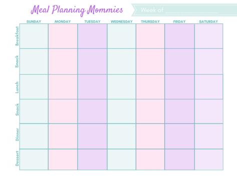 full week meal plan printable