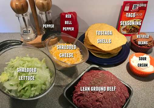 Ingredients for a perfect tostada