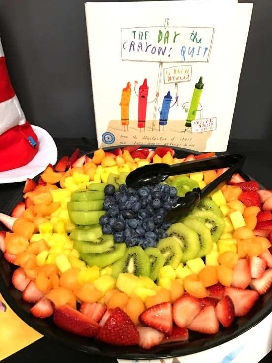 Fruit tray snack to go with The Day the Crayons Quit