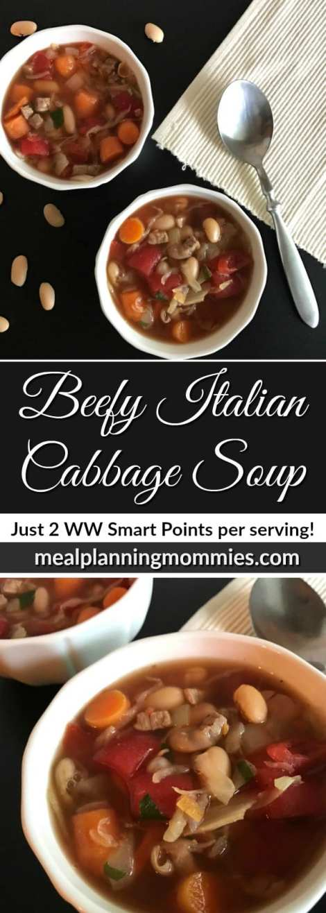 Beefy Italian Cabbage Soup. Just 2 Weight Watcher smart points per serving!