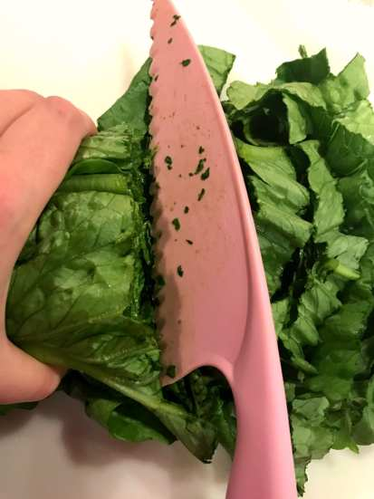 cutting romaine with a Pampered Chef serrated nylon knife.