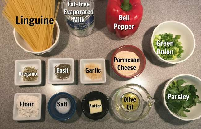 Ingredients for Linguine Alfredo on Meal Planning Mommies