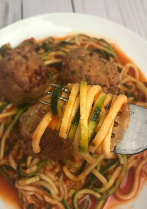 Italian Turkey Meatballs and Zoodles with Sauce