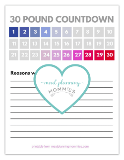 free printable 20 100 pound weight loss trackers meal planning mommies