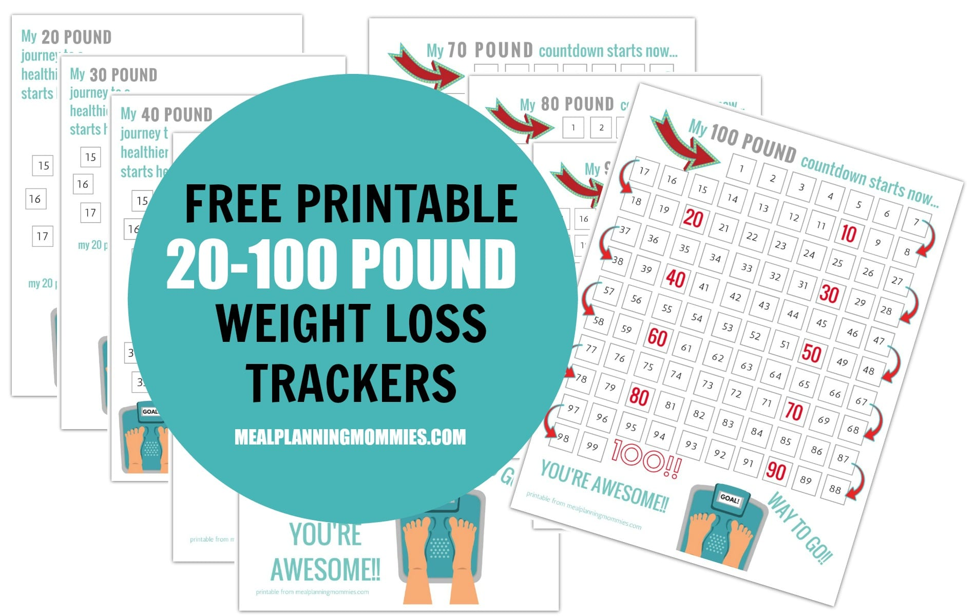 Free Printable 20 100 Pound Weight Loss Trackers