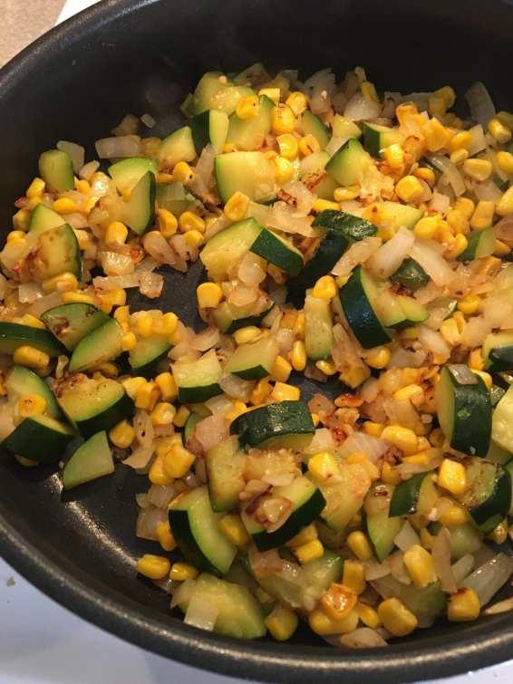 saute zucchini, onion, and carrots