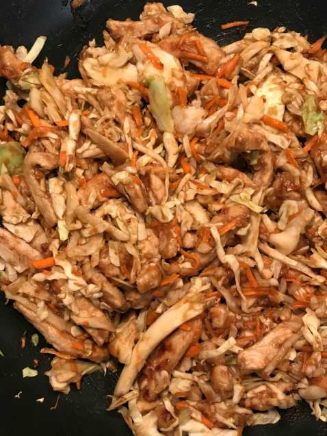 Bulking up this simple Pork Stir Fry with coleslaw is smart, healthy, and delicious!