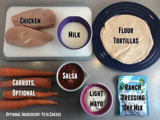Ingredients for Salsa Ranch Shredded chicken Burritos with carrots and Ranch dressing on Meal Planning Mommies