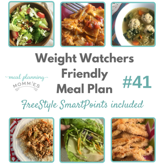Weight Watchers friendly meal plan with free printable grocery list and meal plan page. FreeStyle SmartPoints included with each recipe.