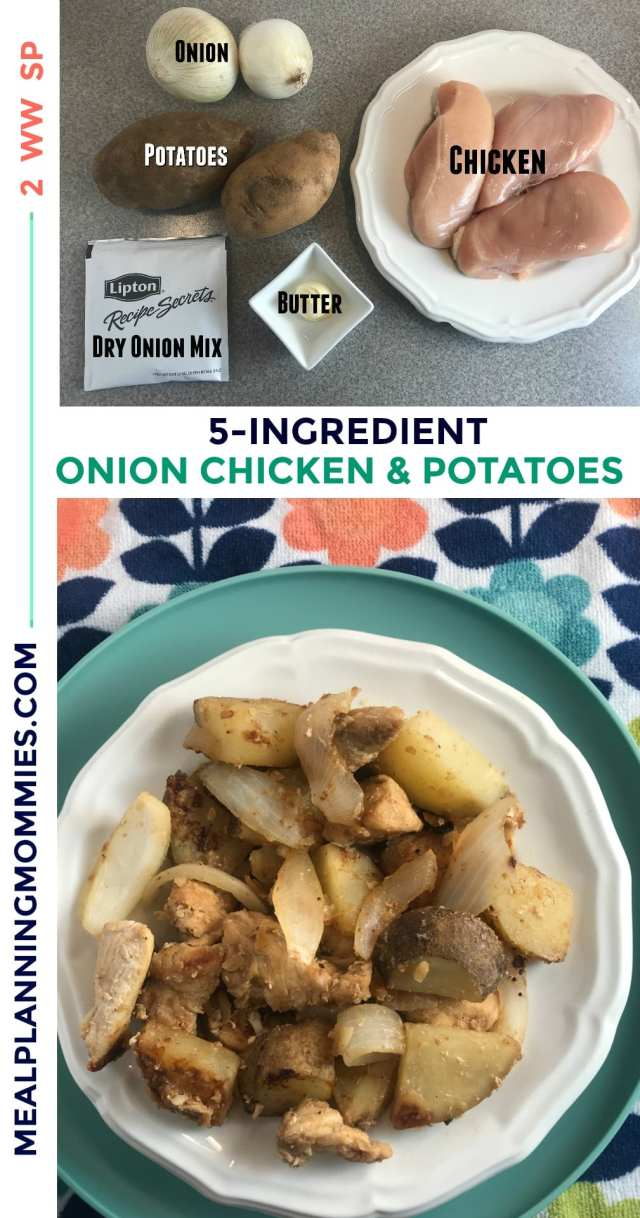 This quick and easy Onion Chicken and Potatoes recipe only uses 5 ingredients and takes 20 minutes to make. Tastes delicious and is just 2 Weight Watchers FreeStyle Smart Points per serving! -Meal Planning Mommies