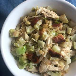 One Point Brussels Sprouts with Chicken, Bacon, and Apple