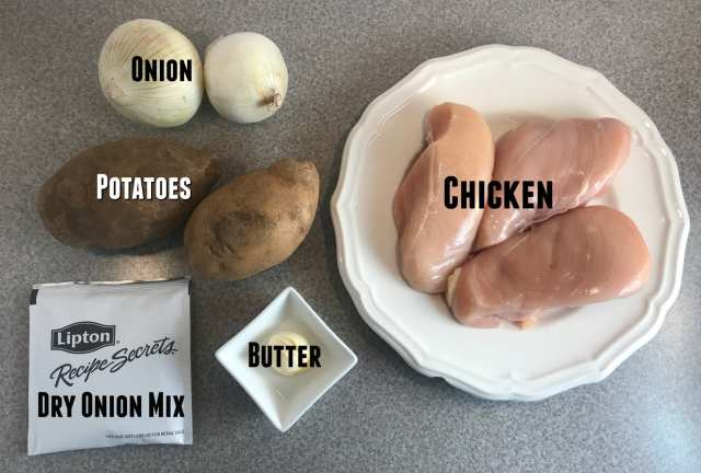 You only need five simple ingredients to make a delicious Onion Chicken and Potatoes dinner - Just 2 Weight Watchers FreeStyle Smart Points per serving on Meal Planning Mommies