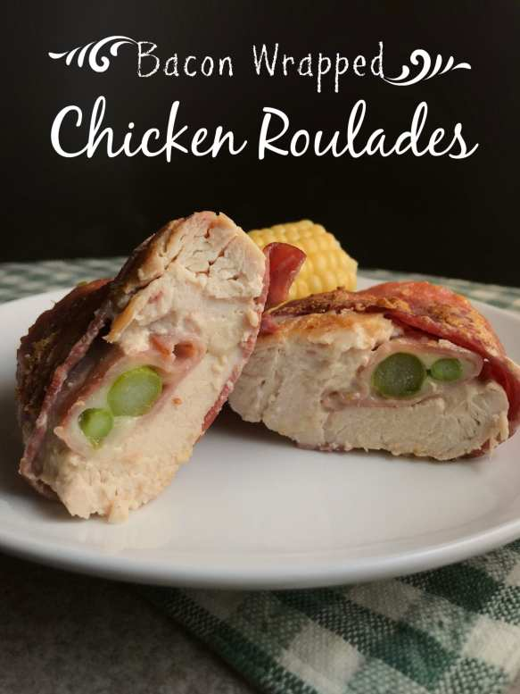 These Bacon Wrapped Chicken Roulades are tender chicken breasts wrapped in turkey bacon and stuffed wtih a honey mustard sacue, deli sliced ham, provolone, and asparagus. These things are so yummy!
