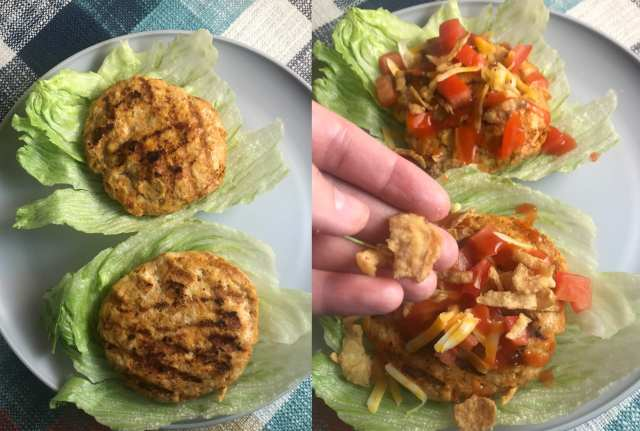 Assemble your Catalina Taco Turkey Burger Lettuce Wraps. Toppings include tomaotes, cheese, crispy onions, and Catalina salad dressing.