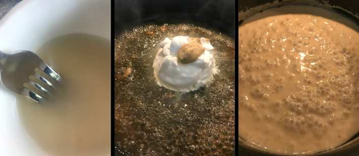 Steps to making a creamy sauce for chicken scappolini - Add cornstarch, sour cream, dijon mustard, and broth.