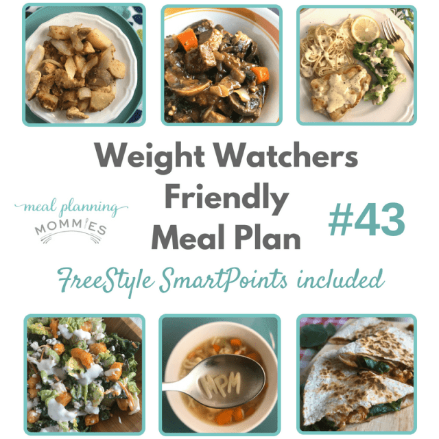 Free Weight Watchers friendly dinner meal plan on Meal Planning Mommies. FreeStyle SmartPoints are included.