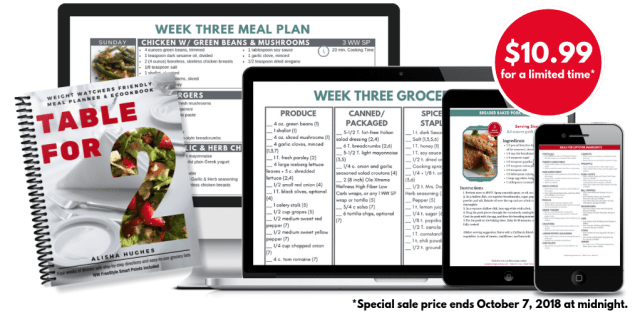 Weight Watchers friendly Table for Two Meal Planning ebook on Meal Planning Mommies