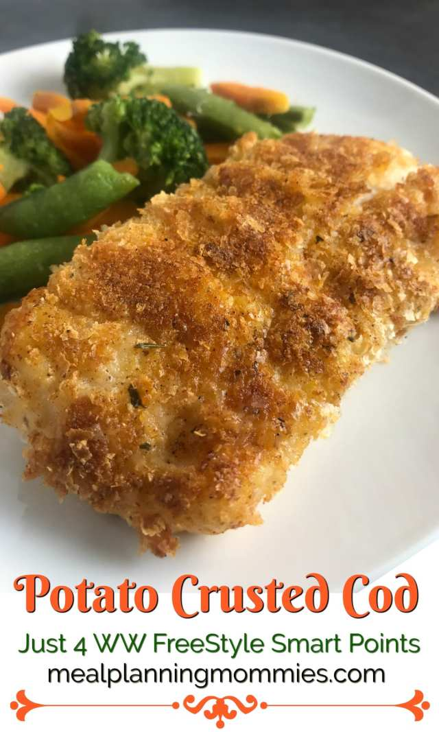 This potato crusted cod is simple to make and just 4 Weight Watchers FreeStyle Smart Points per serving on Meal Planning Mommies.