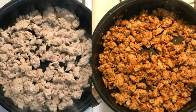 Cooking ground turkey for copycat Taco Bell Beefy 5-Layer Burritos that are easy to make and are just 6 WW FreeStyle SP per burrito! YUM!