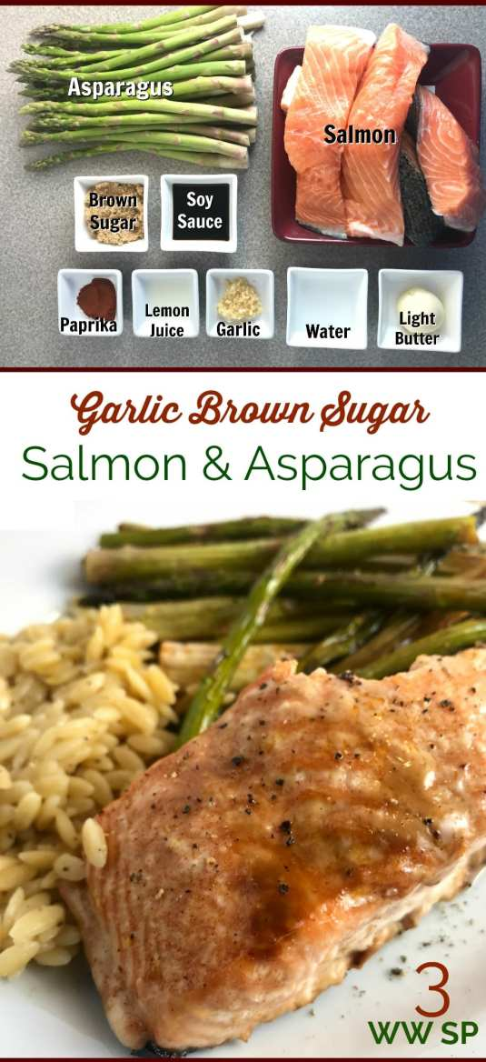 This Garlic Brown Sugar Salmon and Asparagus will be your new favorite dinner! Just 3 WW FreeStyle Smart Points per serving!