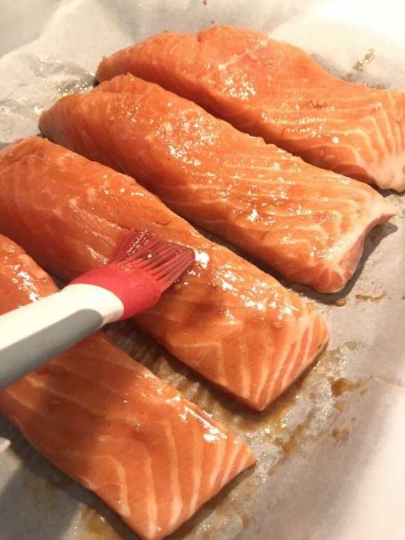 Brush salmon with the melted butter/garlic/brown sugar mixture. Deliciuos and so easy!