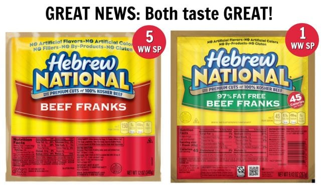 The difference in Smart Points between Hebrew National beef franks and Hebrew National 97% fat free beef franks.