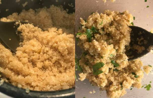 How to make delicious Cilantro Lime Quinoa for Mexican Haystack Bowls.