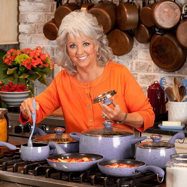 Paula Deen® Lavender Speckle Signature Porcelain Cookware Set Giveaway - How cute is Paula Deen though?