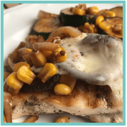 Grilled Pepper Jack Chicken with Zucchini and Corn Saute - Easy Recipes that are perfect for when you are tired, stressed, and overwhelmed