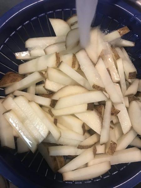 Rinse potatoes off