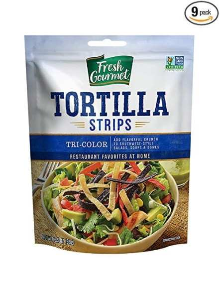 Fresh Gourmet Tortilla strips in Alisha's Meal Planning Mommies Southwest Chicken Bacon and Ranch salad