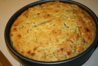 Zucchini and sausage upside down cornbread before flipping over