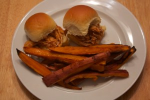 Pulled Chicken Sandwiches with Sweet Potato Fries