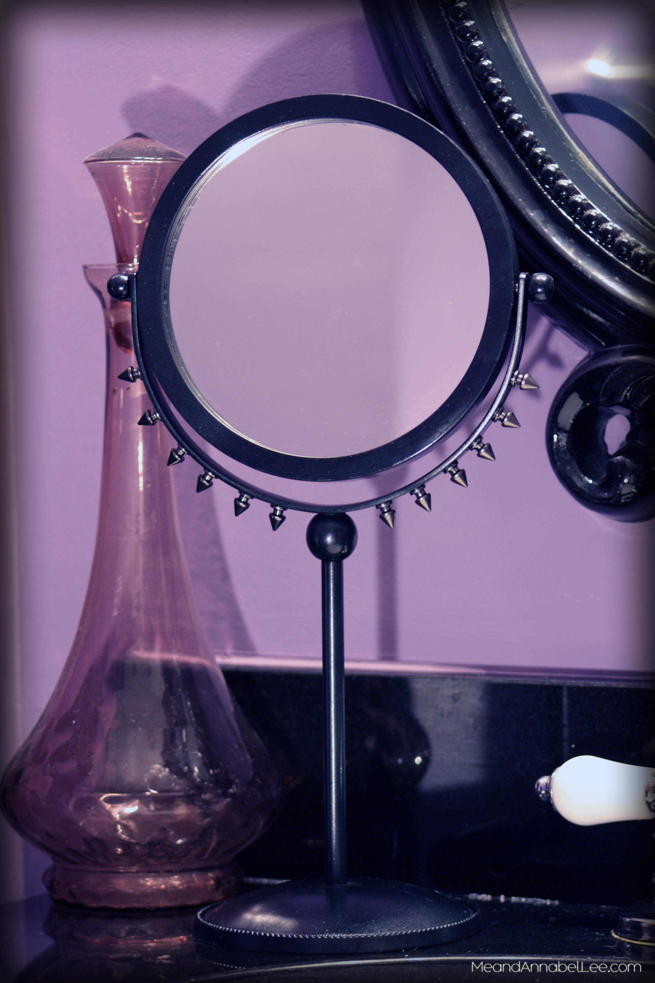 A Makeup Mirror gets a Rock Star Makeover - DIY Rockstar Gothic Goth Heavy Metal Spiked Mirror - Goth It Yourself - www.MeandAnnabelLee.com
