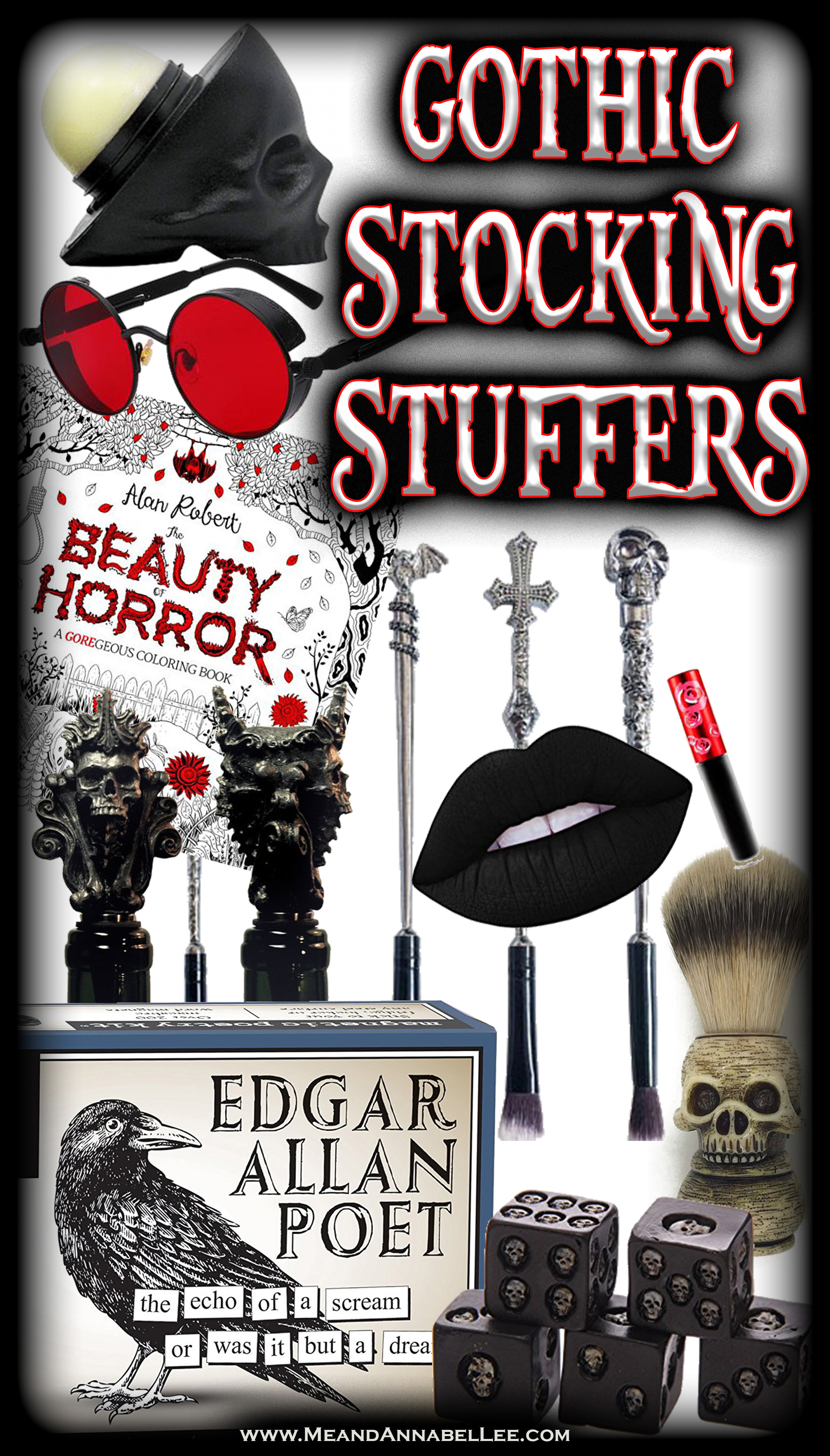 20 Macabre, Twisted, Unusual, Dark, Victorian, & Gothic Stocking Stuffers for the Darkling in Your Life | Skulls | Makeup | Bar Ware | Fashion Accessories | Fun & Games | Jewelry | Home Goods | Christmas Shopping | www.MeandAnnabelLee.com