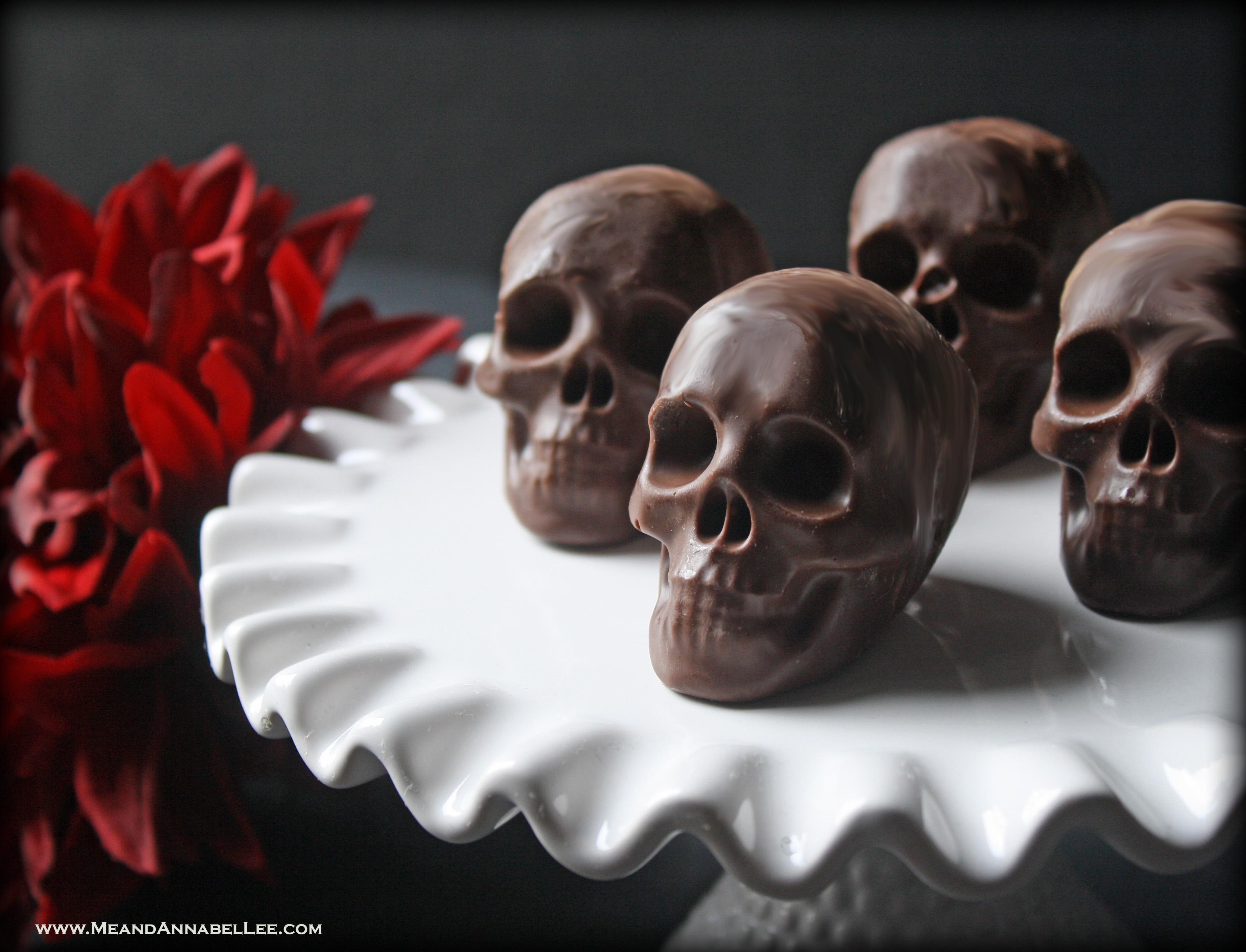 Raspberry Filled Dark Chocolate Skulls   Dark Valentine   Halloween Treats   Gothic Baking   www.MeandAnnabelLee.com