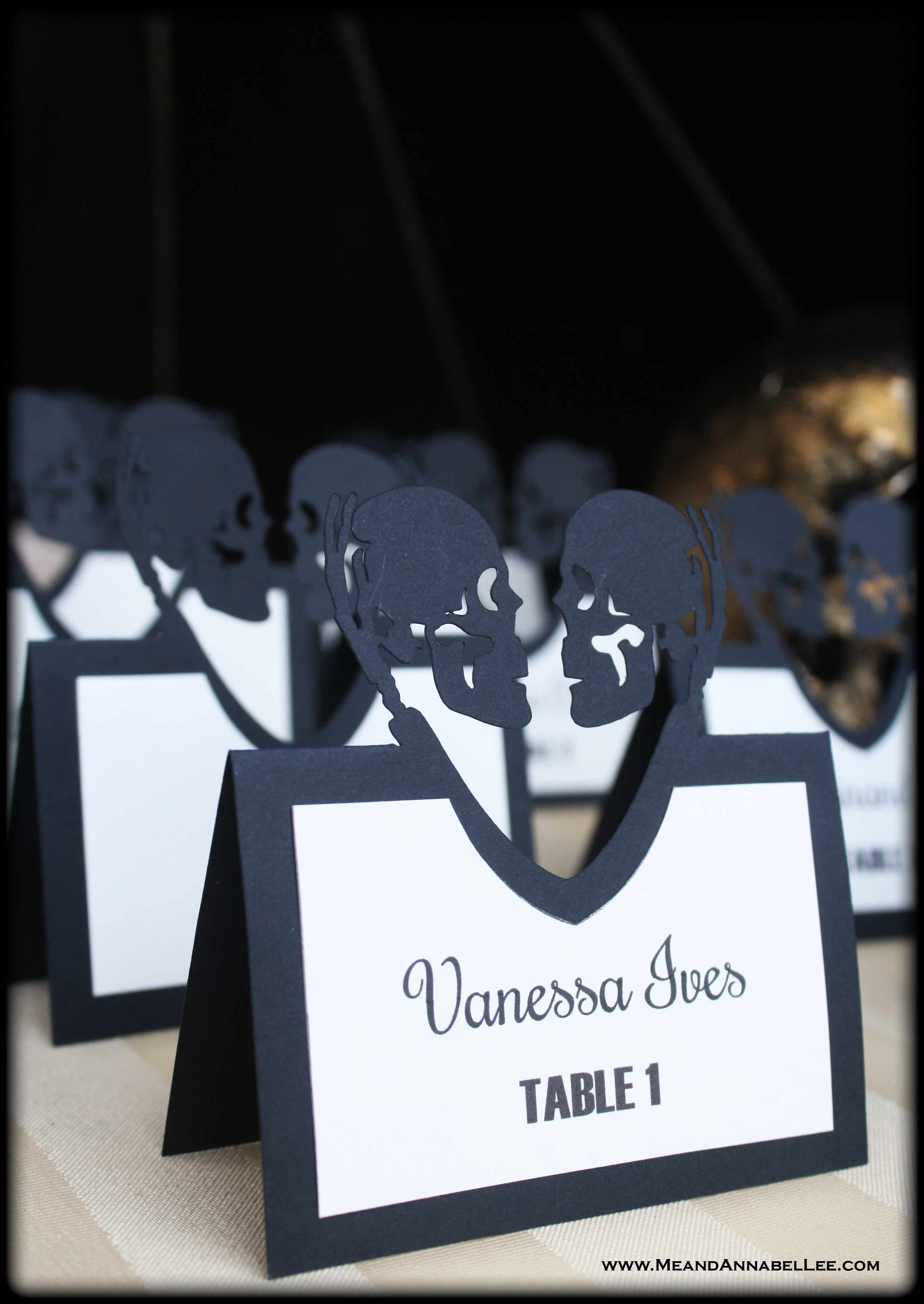 Diy halloween wedding escort cards gothic cricut me and annabel lee how to make laser cut halloween wedding escort cards with your cricut skull love solutioingenieria Images