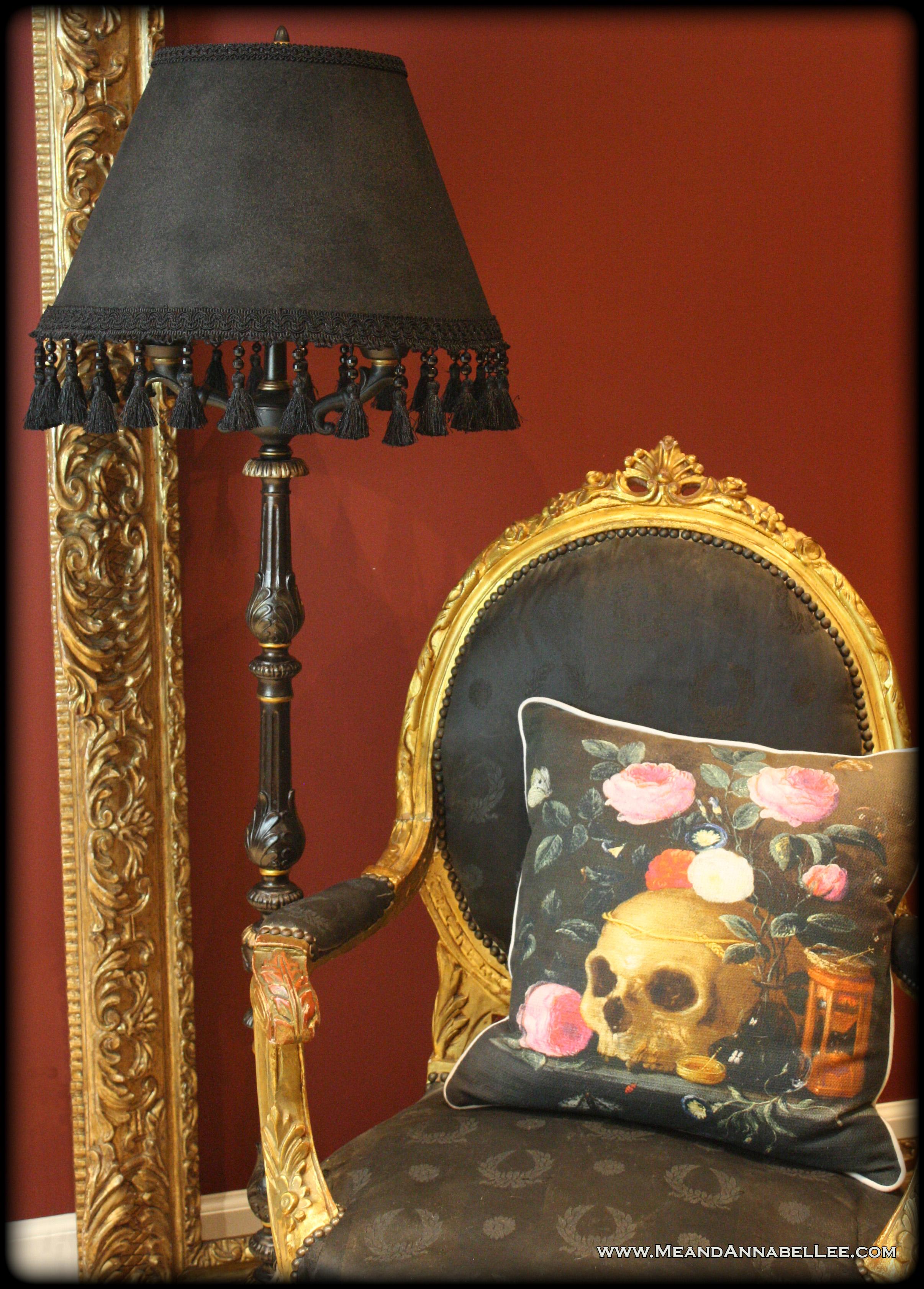 Diy victorian gothic black lamp shade floor lamp goth home diy victorian gothic black lamp shade black gold goth home decor beaded tassel aloadofball Images