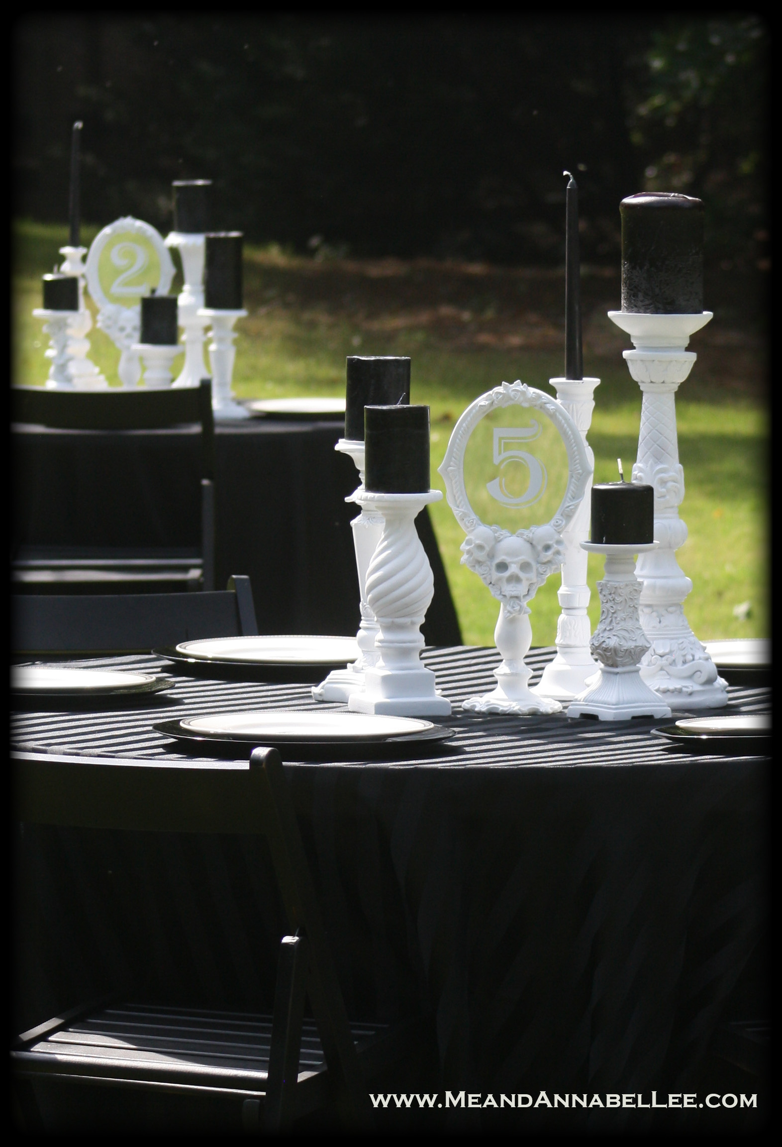 Diy White Vampire Skull Mirror Table Numbers Gothic Wedding Me