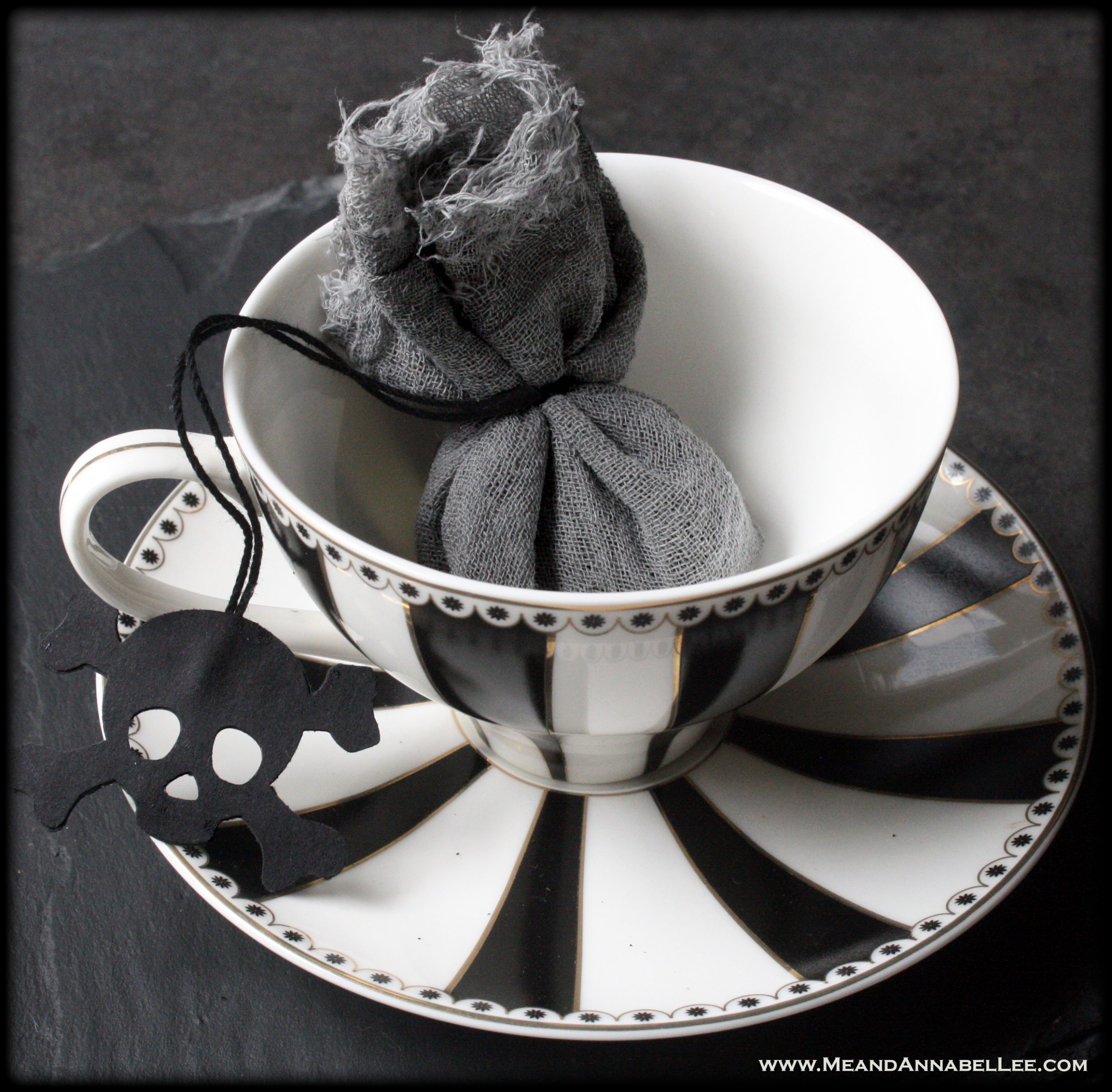 DIY Gothic Black Tea Bags with Skull Tags | How to make homemade dyed Cheesecloth Tea Bags | A Goth-it-Yourself Mother's Day gift | Tea Party or Wedding Favors | Me and Annabel Lee