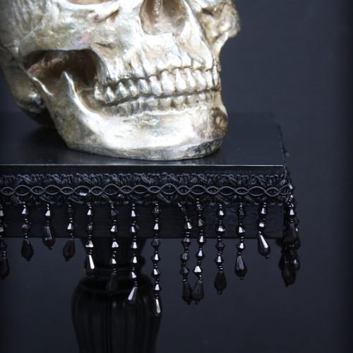 Dark & Glamorous Entertaining.... How Beaded Fringe Can Turn an Old Candlestick into a Gorgeous Cake Stand!.... DIY | Goth It Yourself | Gothic Baking | Trash to Treasure | Black
