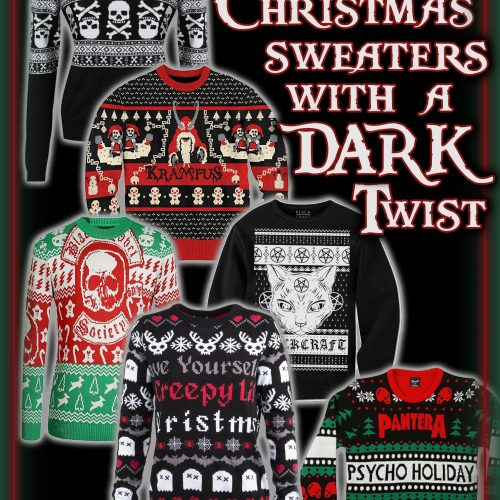 15 Ugly Gothic Christmas Sweaters and Accessories - Skulls, Krampus, Pentagrams, Black Cats, Bats, and more | Dark Xmas | Gothmas | Hexmas | www.MeandAnnabelLee.com