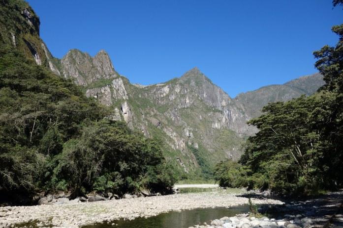 Approaching the back side of Machu Picchu on the final day of hiking. Can you spot Machu Picchu?