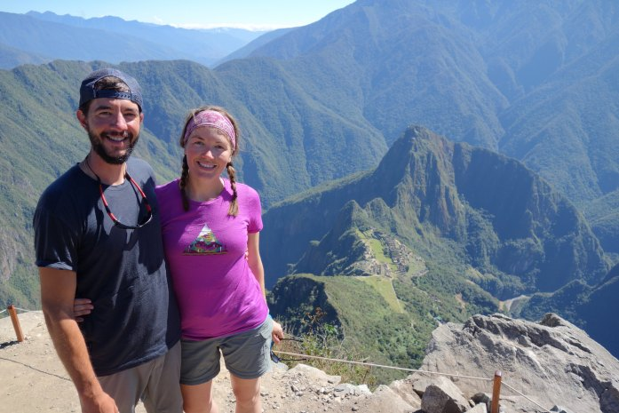 The views from Machu Picchu Mountain. See the rope a thettom of the pic? Don
